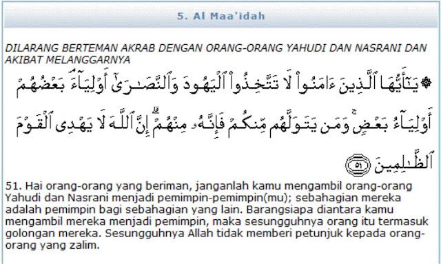 Arti Surat Al Maidah Ayat 51