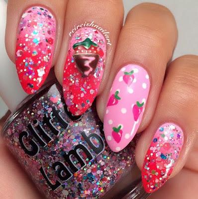 """Strawberry ShortCake"" Glitter Lambs Nail Polish Swatched by @Reireishnailart"