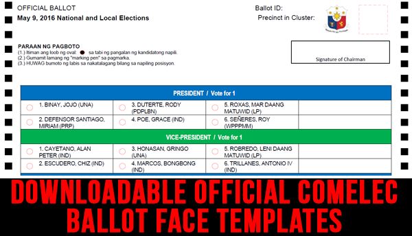Downloadable Official COMELEC Ballot Face Templates and more | 2016 Philippine Elections