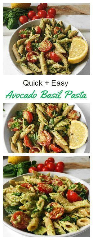 QUICK AND EASY BASIL AVOCADO PASTA | VEGAN + GLUTEN FREE #pasta #pastarecipes #easyrecipes #avocado #avocadorecipes #basilavocadopasta