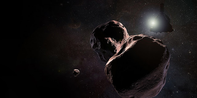 "Artist's impression of NASA's New Horizons spacecraft flying past Ultima Thule, a Kuiper Belt object officially named 2104 MU69. Chosen by the mission team with public input, the nickname Ultima Thule is a Norse phrase, pronounced ""thoo-lee."" (Image Credit: NASA/Johns Hopkins University Applied Physics Laboratory/Southwest Research Institute)"