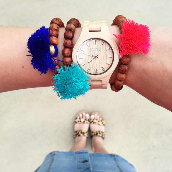 tassel bracelets, wood watch