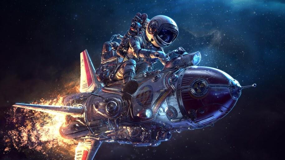 Astronaut, Rocket, Sci-Fi, Outer Space, 4K, #4.75