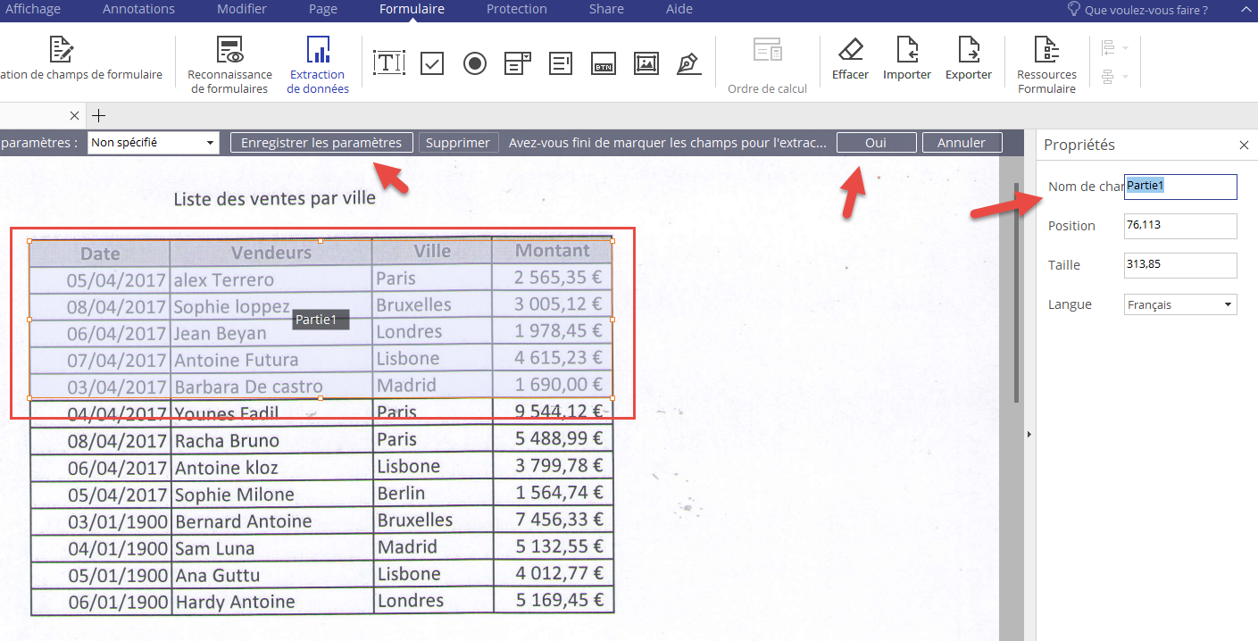 Paramétrer l'extraction de données du pdf scanné