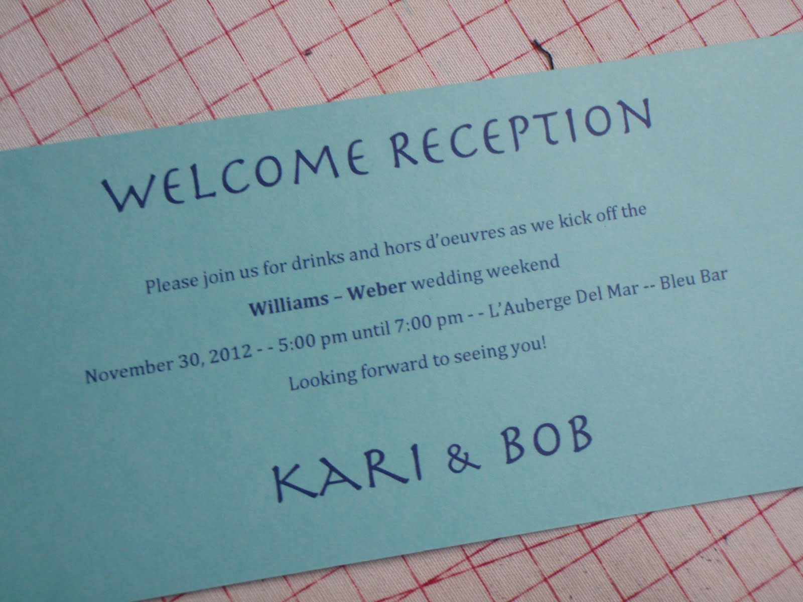 "Wedding Welcome Dinner Invitation Wording: Patty ""The Quilt Lady"": Welcoming Reception, ArtMart At"