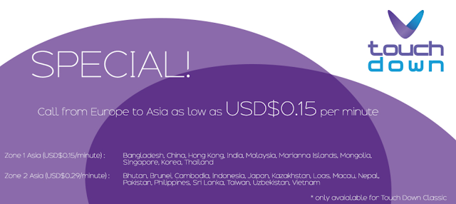 Call from Europe to Asia as low as $0.15 per minute!