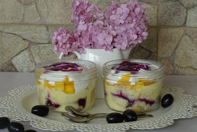 Trifle pudding with jamun jam