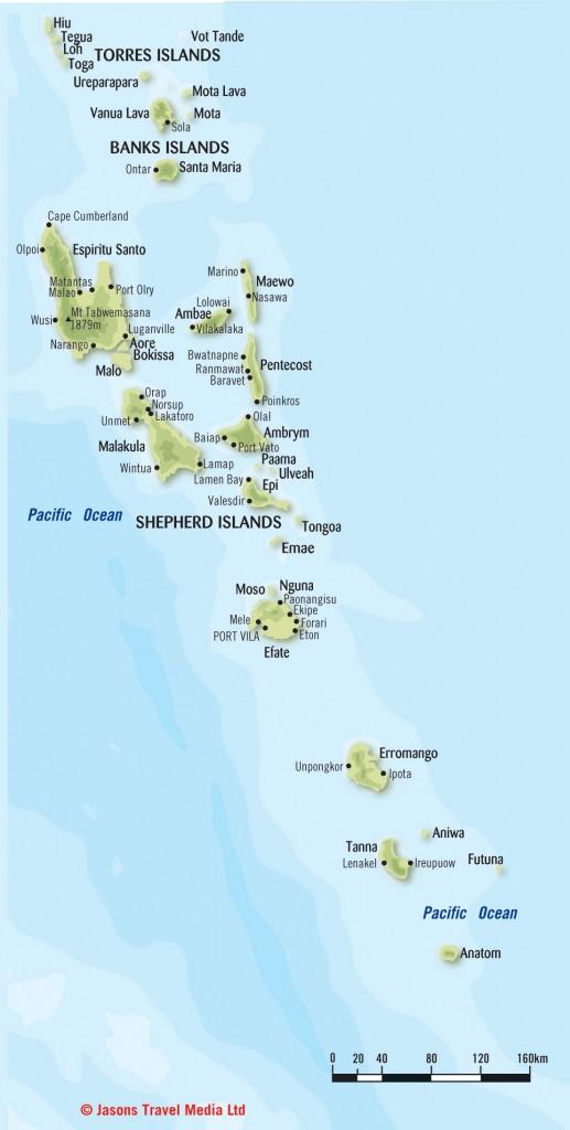 Mapas Geográficos das Ilhas Vanuatu