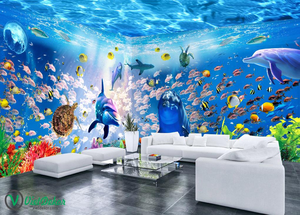 Tranh dán tường 3d phong cảnh dưới đáy biển cá heo