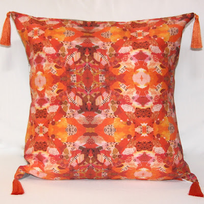 "Designer Pillow,Home Decor Art ""Terra Cotta Collage Pillow"" by Santa Fe Contemporary Artist and Designer Melanie Birk"