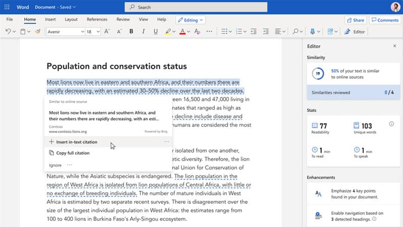 Microsoft adds 'Similarity Checker' to Microsoft Editor for Office Insiders – helping writers with originality and attribution