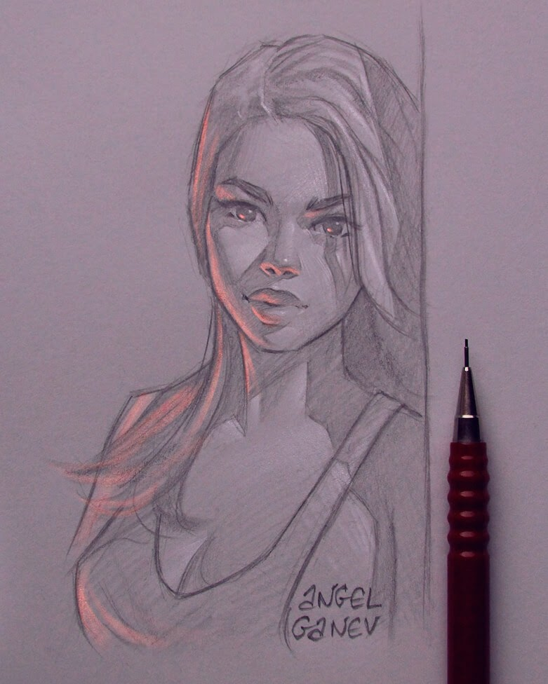 12-Orange-Light-Angel-Ganev-Luminous-Pencil-Portraits-that-Glow-www-designstack-co