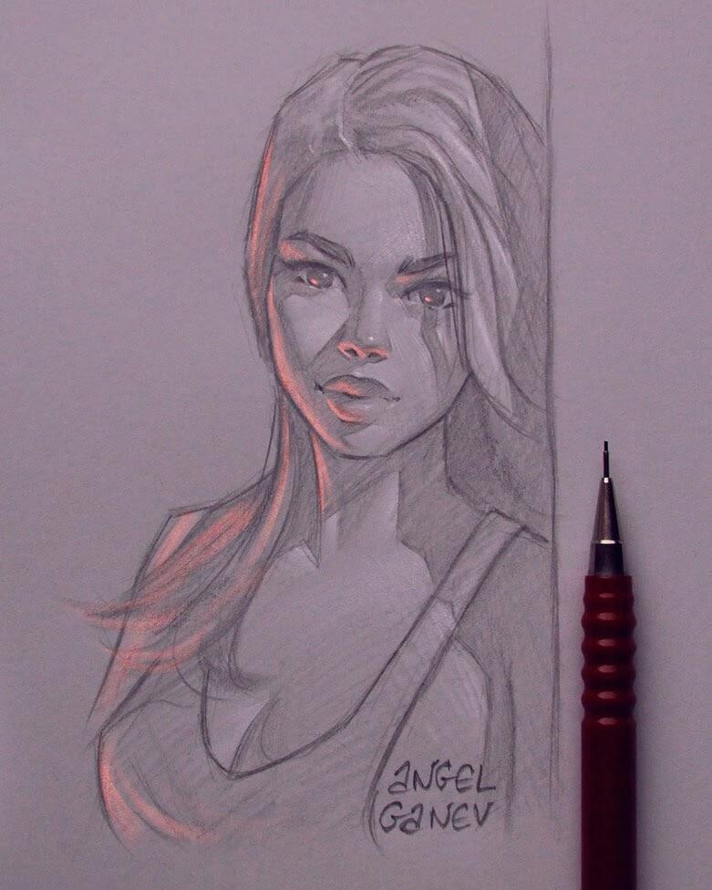 12-Orange-Light-Angel-Ganev-Luminous-Pencil-Portraits-that-Glow-www-designstack-co