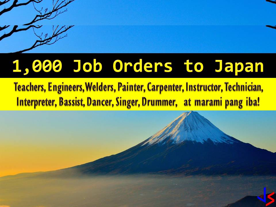 Japan is currently hiring for Filipino workers. This is the latest job orders from Philippine Overseas Employment Administration (POEA) employment sites this 2018. There are many companies in Japan who wants to hire Filipino workers. International employment opportunities in Japan are open for welders, engineers, English teachers, painter scaffolders, livestock agriculture workers, and many others.  The following are job orders from the database or employment site of Philippine Overseas Employment Administration (POEA)  Please reminded that jbsolis.com is not a recruitment agency, all information in this article is taken from POEA job posting sites and being sort out for much easier use.   The contact information of recruitment agencies is also listed. Just click your desired jobs to view the recruiter's info where you can ask a further question and send your application letter. Any transaction entered with the following recruitment agencies is at applicants risk and account.