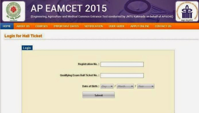 Hall ticket download for EAMCET 2015