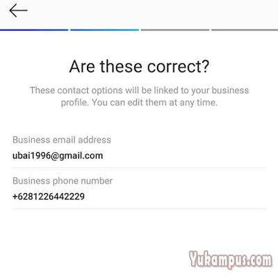 email telepon akun bisnis instagram