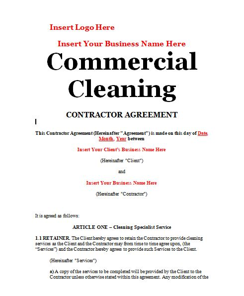 Cleaning Contract Sample Contracts - Contract Templates - Business - sample cleaning contract template