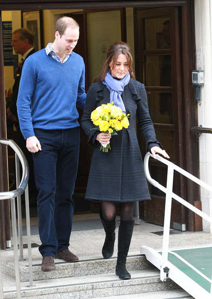 The Duke Duchess of Cambridge leave the King Edward VII hospital where she has been treated for hyperemesis gravidarum