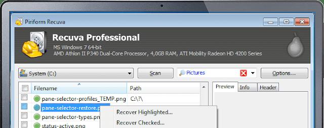 تحميل برنامج ريكوفا لاستعادة الملفات المحذوفة Recuva
