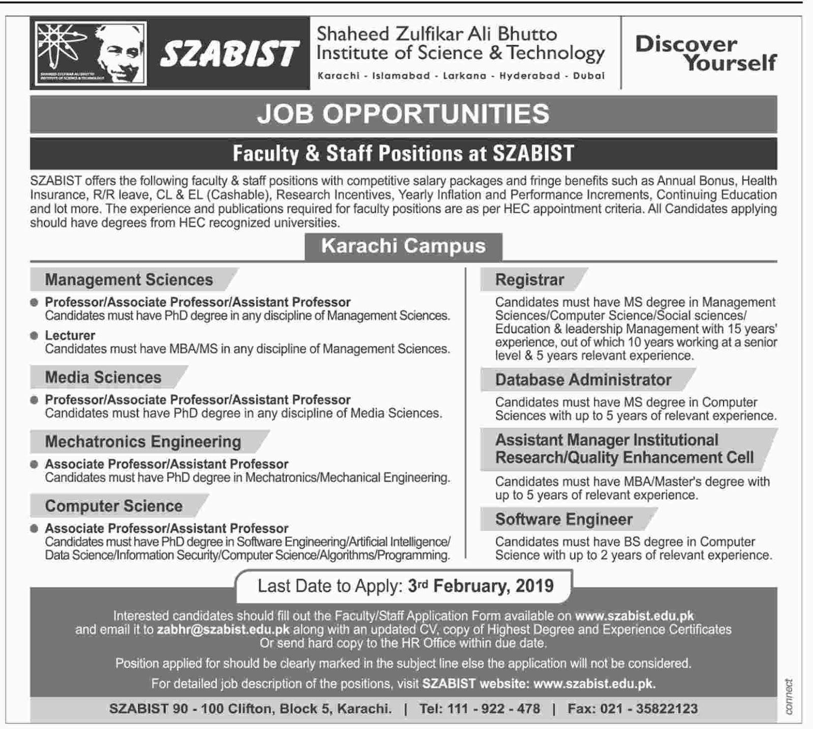 Shaheed Zulfikar Ali Bhutto Institute Of Science And Technology Announced Jobs in Karachi