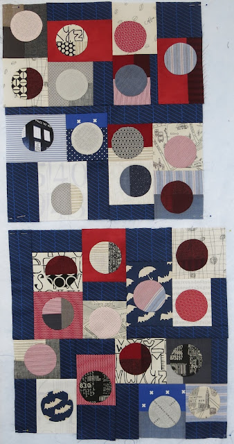 Quilty 365 - Hand applique circles - Work in progress - Improv' piecing