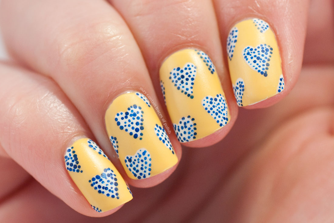 Yellow and Blue Heart Nail Art