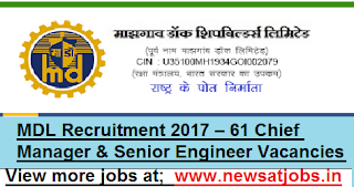 MDL-61-Chief Manager-&-Senior-Engineer-Vacancies-2017