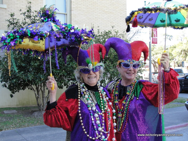 greeters outside the Mardi Gras Museum of Imperial Calcasieu in Lake Charles, Louisiana