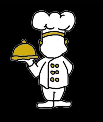 Illusztráció egyperces felnőtt népmeséhez, konyhafőnök áll fehér, aranygombos séf kabátban és szakácssapkában, arany tálcával kezében egy vetélkedőn.