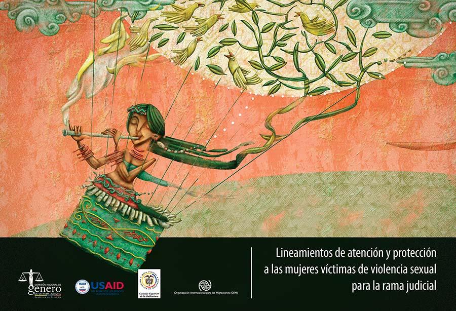 Ilustración y diseño de portada para el libro Lineamientos de atención y protección a las mujeres víctimas de violencia sexual para la rama judicial por Hache Holguín