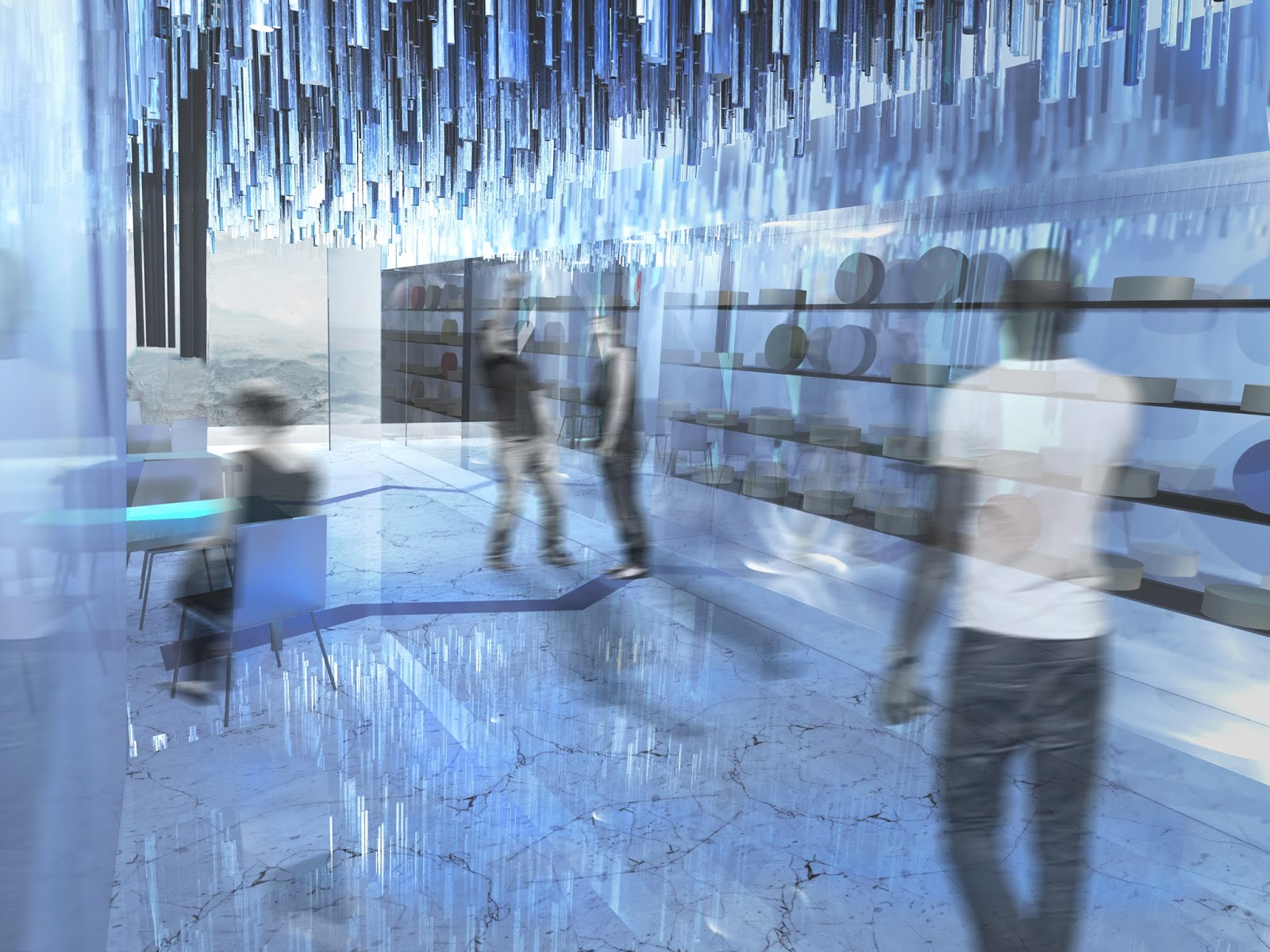 wizualizacja projektu wnętrz sklepu z serami