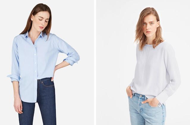 Голубая базовая рубашка и лавандовая блузка