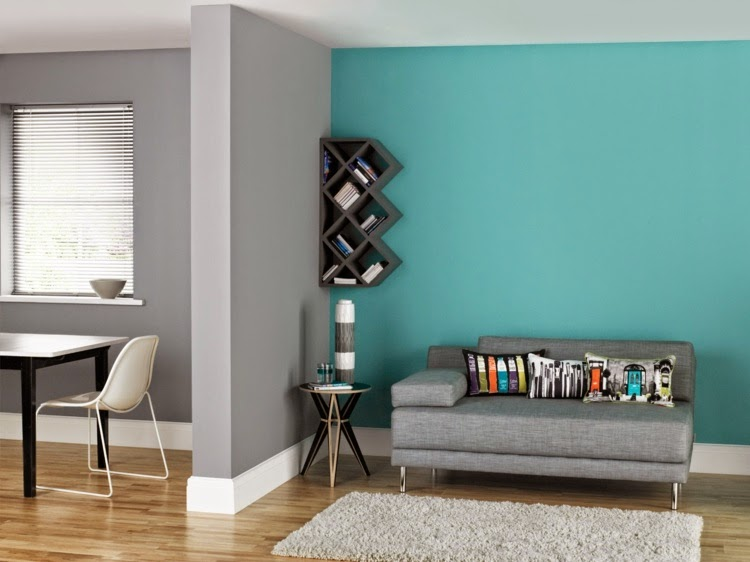 wall paint color  combine colors classic gray and Turquoise. 15 Cool wall paint color ideas for inspiration   Home Design