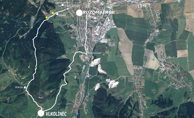 Cómo ir de Ružomberok a Vlkolínec (mapa)