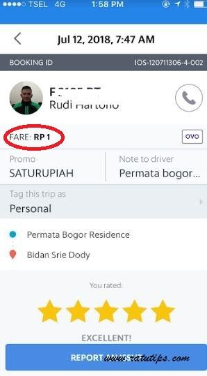Pengalaman Menggunakan Aplikasi OVO, Pakai Grab Cukup Bayar 1 Rupiah Saja!