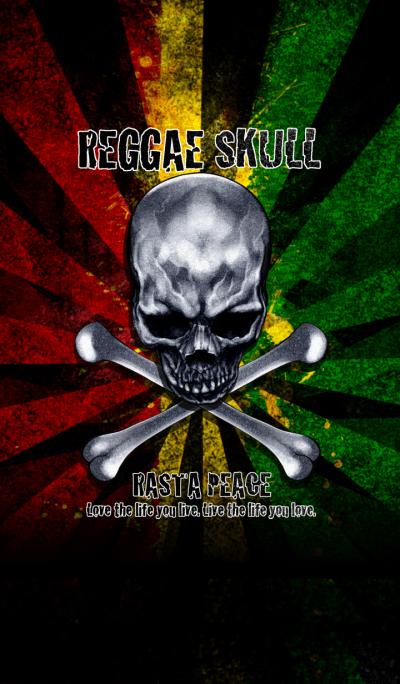 Rasta peace reggae skull 3