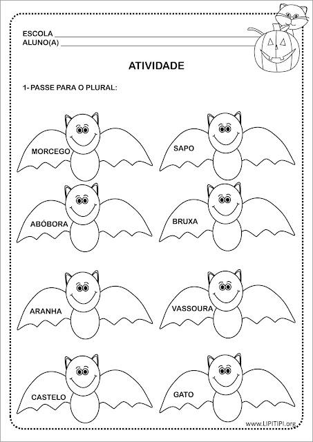 Atividade para imprimir Singular e Plural dos Substantivos