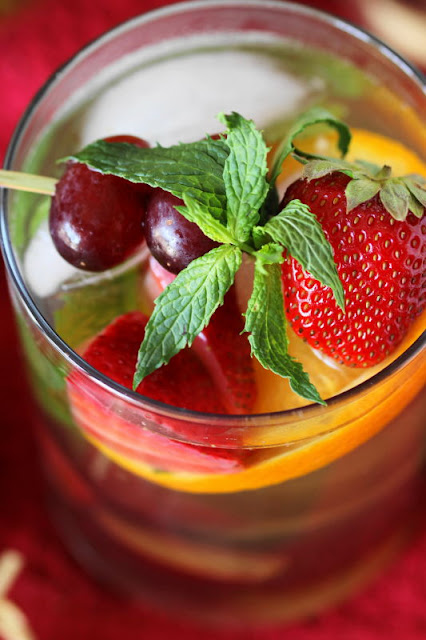 Virgin White Sangria Image ~ a white grape juice-based, no-alcohol version of sangria.