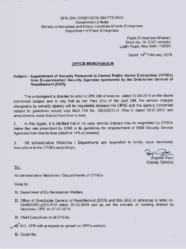 appointment of security personnel in cpse from ex servicemen security agnecies