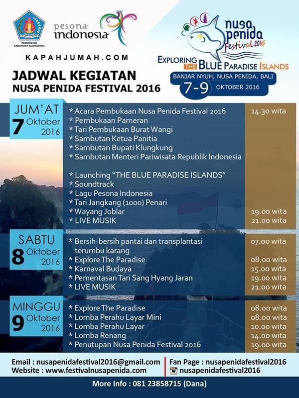 Jadwal Lengkap Nusa Penida Festival 2016