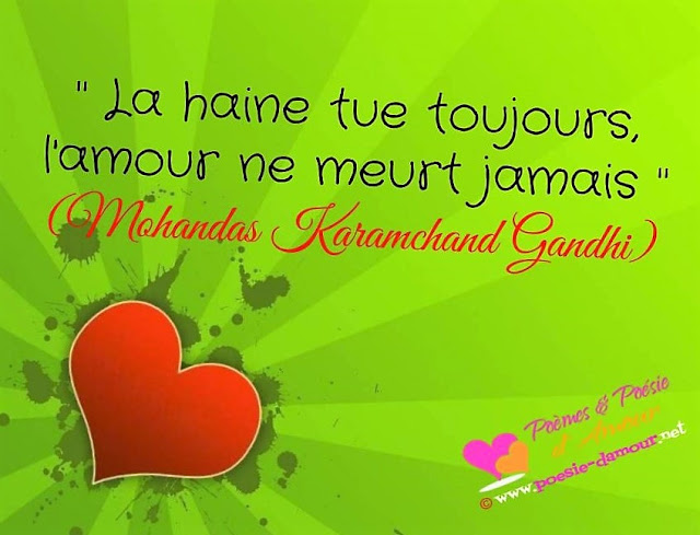 Célèbre citation de Mohandas Karamchand Gandhi : La haine tue toujours, l'amour ne meurt jamais.