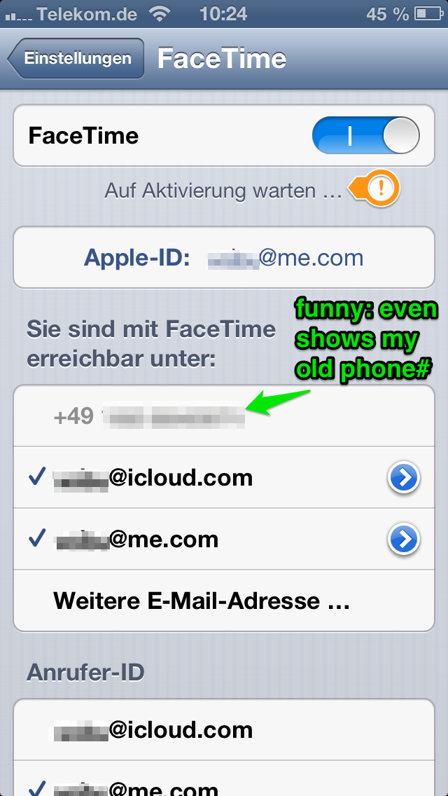 vobu's shouts: Registration of phone number not possible for iMessage & Facetime
