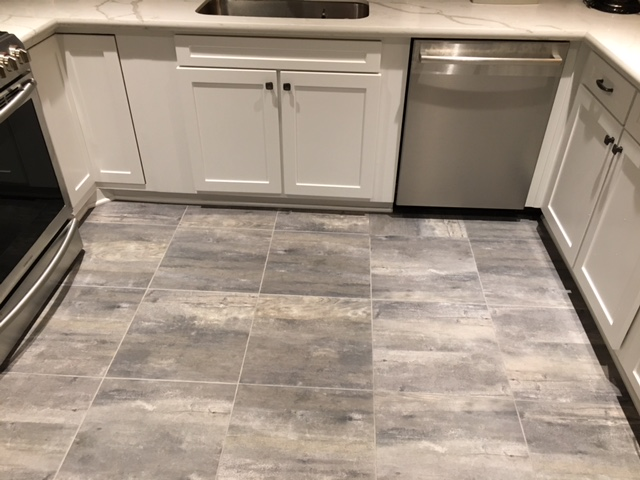 renovated kitchen, gray and white Emser Paris Tile