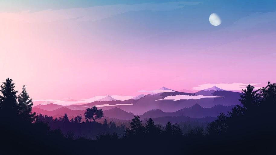 Beautiful, Minimaist, Sunrise, Scenery, Mountain, Forest, 4K, #6.1036