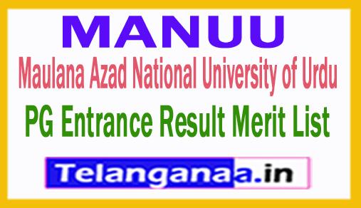 MANUU PG Entrance Result Merit List 2018 Download