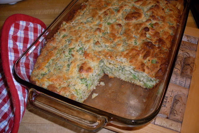 Cornbread with added broccoli and cheddar cheese.