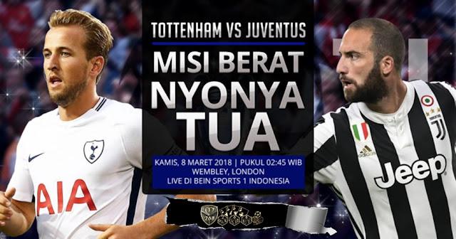 Prediksi Tottenham Hotspur Vs Juventus, Kamis 08 Maret 2018 Pukul 02.45 WIB @ SCTV