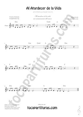 Flauta Travesera, flauta dulce y flauta de pico Partitura de Al Atardecer de la Vida Sheet Music for Flute and Recorder Music Scores