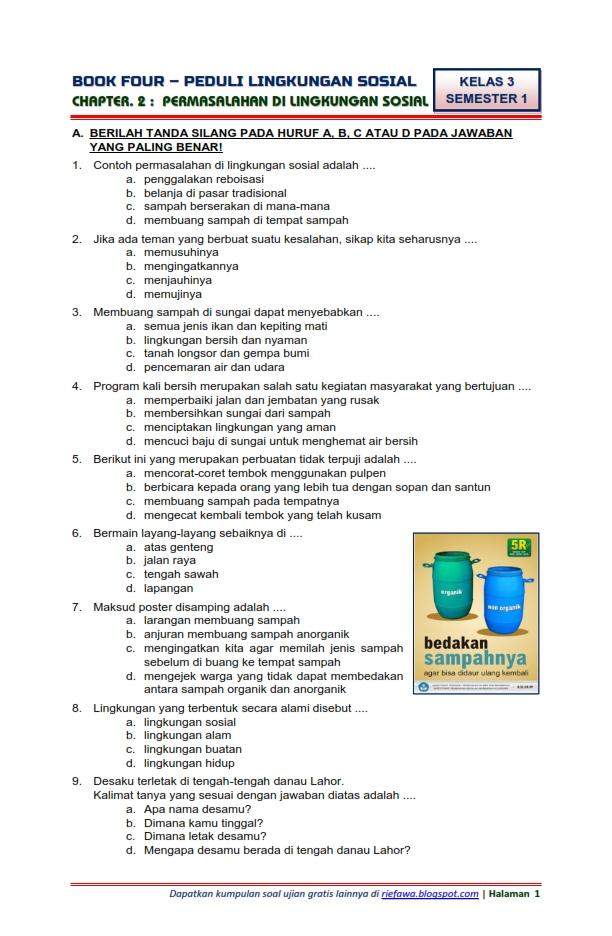 Download Soal Tematik Kelas 3 Semester 1 Tema 4 Subtema 2 Peduli Lingkungan Sosial