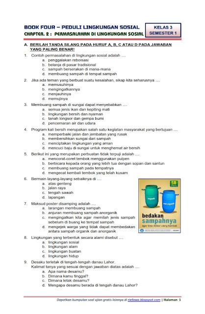 Soal Tematik Kelas 3 Sd Semester 1 Kurikulum 2013 : tematik, kelas, semester, kurikulum, Download, Tematik, Kelas, Semester, Subtema, Peduli, Lingkungan, Sosial, Permasalahan, Edisi